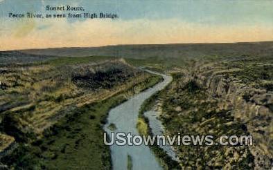 Sunset Route, High Bridge - Pecos River, Texas TX Postcard