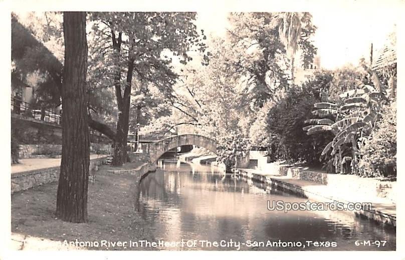San Antonio River in the Heart of the City - Texas TX Postcard