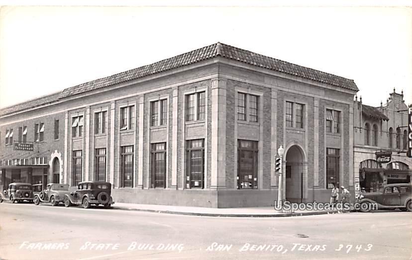 Farmers State Building - San Benito, Texas TX Postcard
