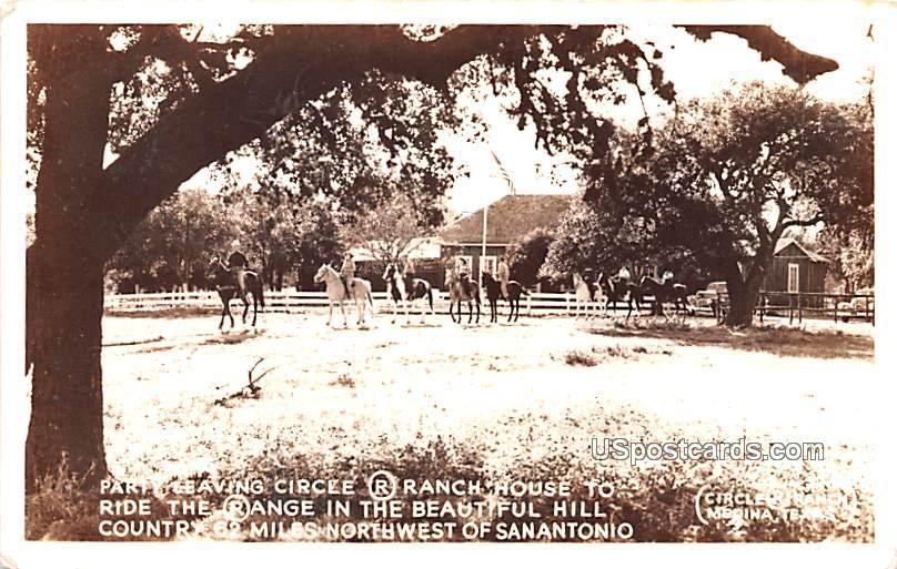 Party Leaving Circle R Ranch House - San Antonio, Texas TX Postcard