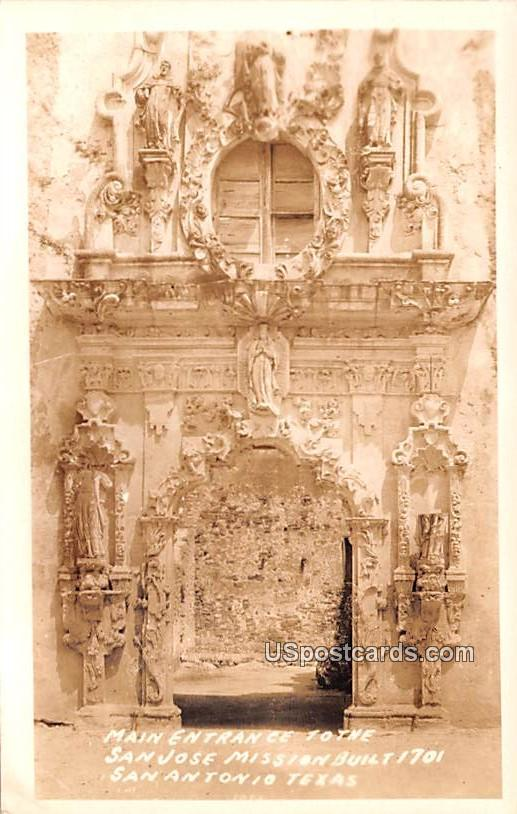 Main Entrance to the San Jose Mission - San Antonio, Texas TX Postcard
