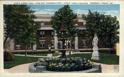 Annie Green Hall - Sherman, Texas TX Postcard