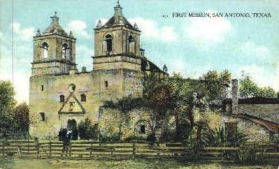 First Mission Conception de Acuna - San Antonio, Texas TX Postcard