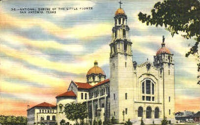 National Shrine of the Little Flower - San Antonio, Texas TX Postcard