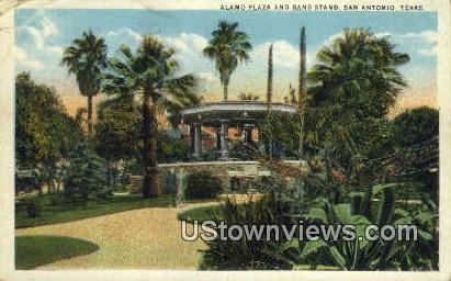 Alamo Plaza & Band Stand - San Antonio, Texas TX Postcard