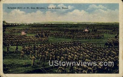 Infantry Drill, Ft San Houston - San Antonio, Texas TX Postcard