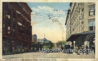 Ave C, Houston Street - San Antonio, Texas TX Postcard