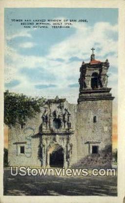 Tower & Carved Window of San Jose - San Antonio, Texas TX Postcard