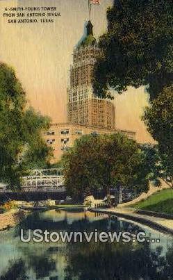Smith Young Tower, San Antonio River - Texas TX Postcard