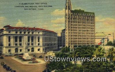 Alamo Plaza, Post Office - San Antonio, Texas TX Postcard