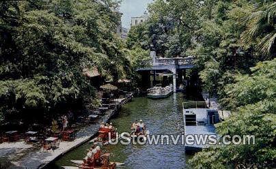 Restaurant & Boats, San Antonio River - Texas TX Postcard