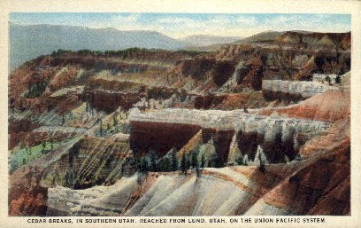 Cedar Breaks - Bryce Canyon, Utah UT Postcard