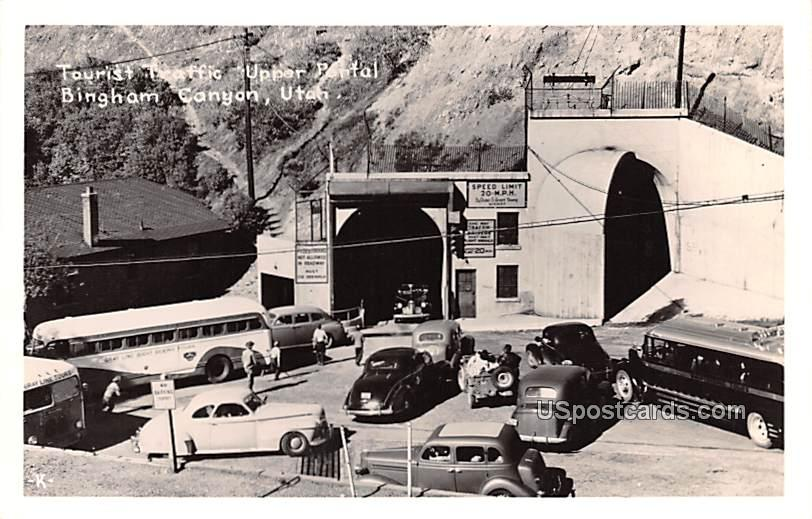 Tourist Traffice Upper Portal - Bingham Canyon, Utah UT Postcard
