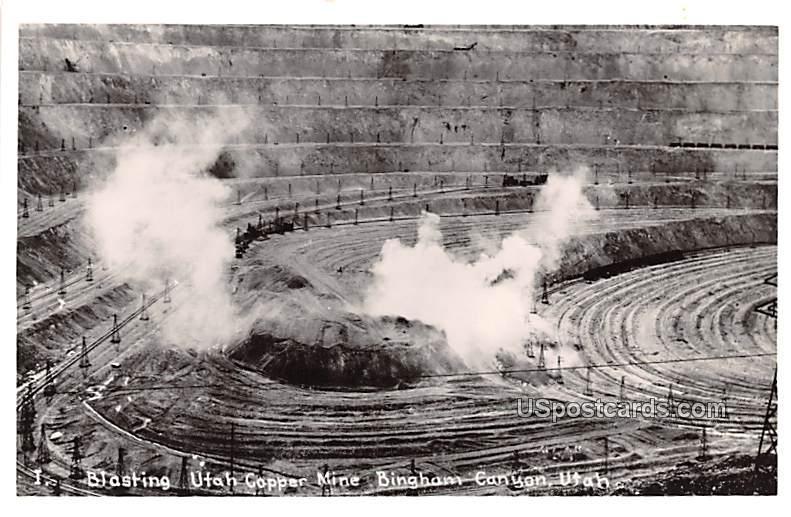 Blasting Utah Copper Mine - Bingham Canyon Postcard