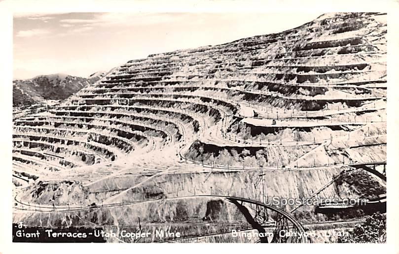 Giant Terraces - Bingham Canyon, Utah UT Postcard
