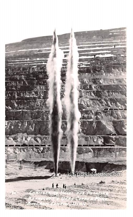 Chambering Holes for Blasting Kennecott's Utah Copper Mine - Bingham Canyon Postcard