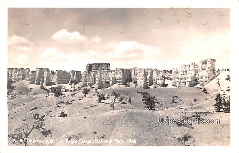 Chinese Wall - Bryce Canyon, Utah UT Postcard