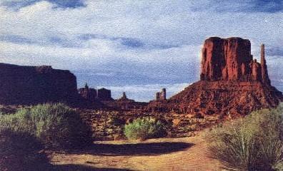 Utah-Arizona Boundary - Monument Valley Postcard
