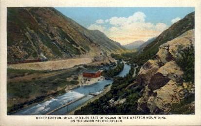 Weber Canyon, Utah Postcard      ;      Weber Canyon, UT