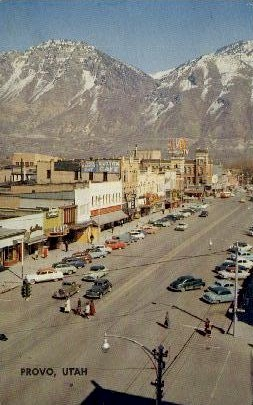 Center Street - Provo, Utah UT Postcard