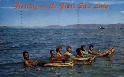 Floating on the Great Salt Lake - Misc, Utah UT Postcard