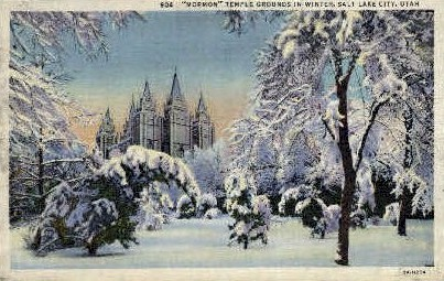 Mormon Temple Grounds - Salt Lake City, Utah UT Postcard