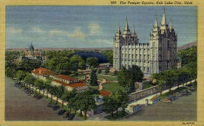 The Temple Square - Salt Lake City, Utah UT Postcard