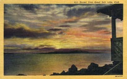 Sunset  - Great Salt Lake, Utah UT Postcard