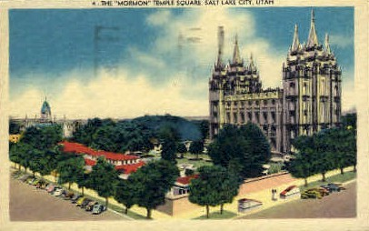 The Mormon Temple Square - Salt Lake City, Utah UT Postcard