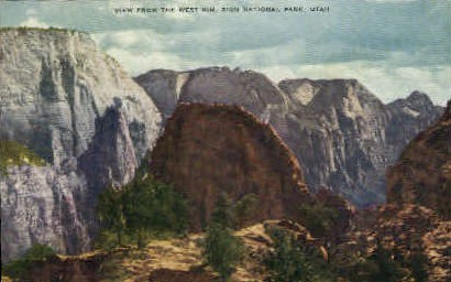 View from West Rim - Zion National Park, Utah UT Postcard