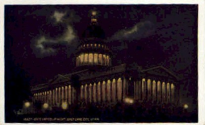 State Capitol at Night - Salt Lake City, Utah UT Postcard