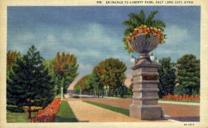Entrance to Liberty Park - Salt Lake City, Utah UT Postcard