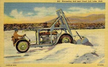 Harvesting Salt - Great Salt Lake, Utah UT Postcard