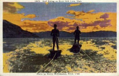 Surf Riding - Great Salt Lake, Utah UT Postcard
