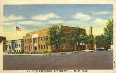 Civic Auditorium and Library - Price, Utah UT Postcard