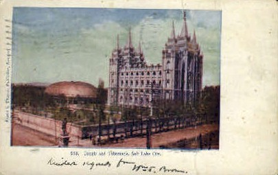Temple and Tabernacle - Salt Lake City, Utah UT Postcard