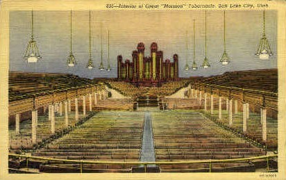 Interior of Great Mormon Tabernacle - Salt Lake City, Utah UT Postcard