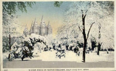 Winter Scene on Temple Grounds - Salt Lake City, Utah UT Postcard