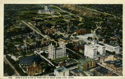 Birds Eye View of Salt Lake City - Utah UT Postcard