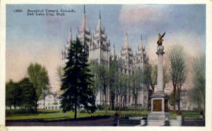 Beautiful Temple Grounds - Salt Lake City, Utah UT Postcard