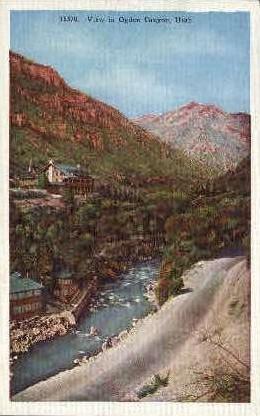 View of Ogden Canyon - Utah UT Postcard