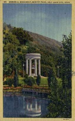 Memorial Monument - Salt Lake City, Utah UT Postcard