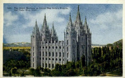 The Great Mormon Temple - Salt Lake City, Utah UT Postcard