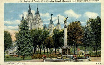 Portion of Temple Block - Salt Lake City, Utah UT Postcard