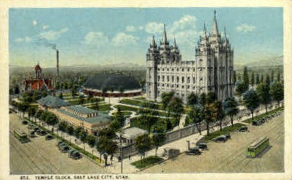Temple Block - Salt Lake City, Utah UT Postcard