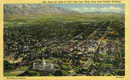 View of Salt Lake City - Utah UT Postcard