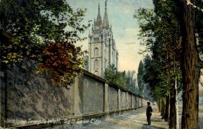 Along Temple Wall - Salt Lake City, Utah UT Postcard