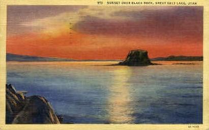 Sunset over Black Rock - Great Salt Lake, Utah UT Postcard
