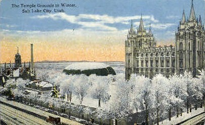 The Temple Grounds in Winter - Salt Lake City, Utah UT Postcard