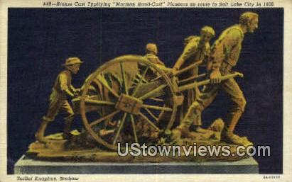 Broze Cast, Mormon Hand Cart - Salt Lake City, Utah UT Postcard